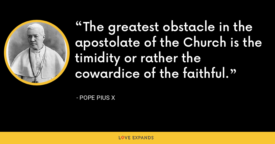 The greatest obstacle in the apostolate of the Church is the timidity or rather the cowardice of the faithful. - Pope Pius X