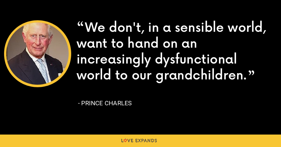 We don't, in a sensible world, want to hand on an increasingly dysfunctional world to our grandchildren. - Prince Charles