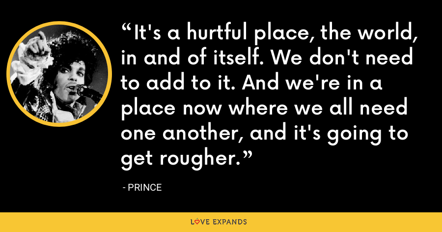 It's a hurtful place, the world, in and of itself. We don't need to add to it. And we're in a place now where we all need one another, and it's going to get rougher. - Prince