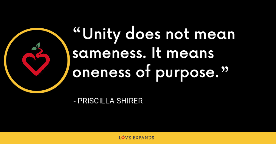 Unity does not mean sameness. It means oneness of purpose. - Priscilla Shirer