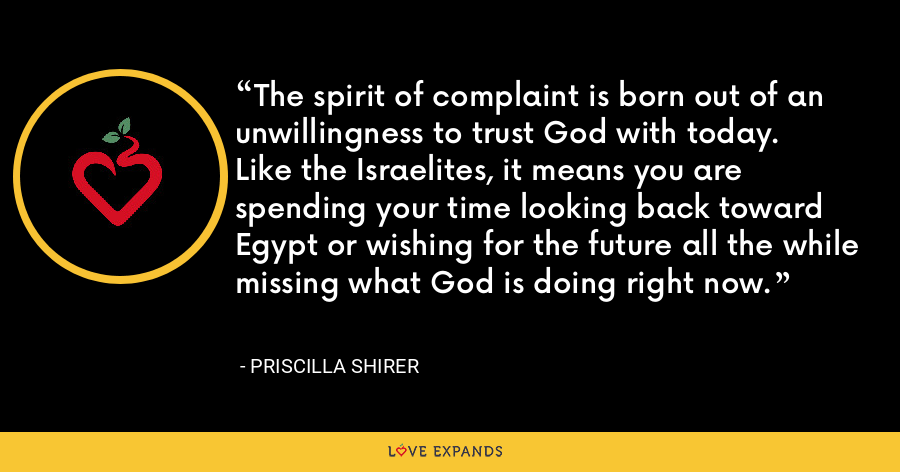 The spirit of complaint is born out of an unwillingness to trust God with today. Like the Israelites, it means you are spending your time looking back toward Egypt or wishing for the future all the while missing what God is doing right now. - Priscilla Shirer