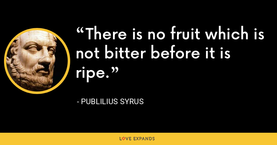 There is no fruit which is not bitter before it is ripe. - Publilius Syrus