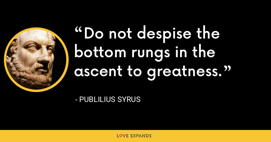 Do not despise the bottom rungs in the ascent to greatness. - Publilius Syrus