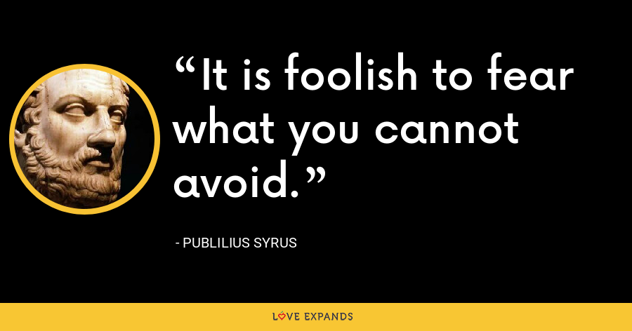 It is foolish to fear what you cannot avoid. - Publilius Syrus