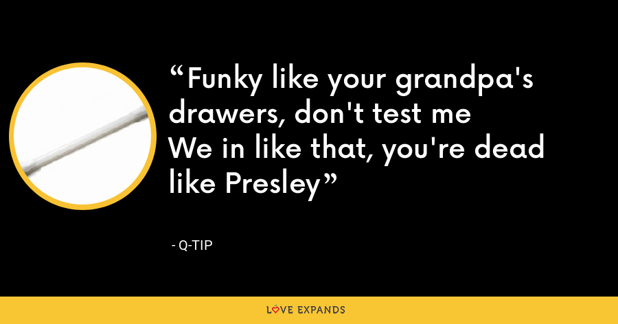 Funky like your grandpa's drawers, don't test me We in like that, you're dead like Presley - Q-Tip