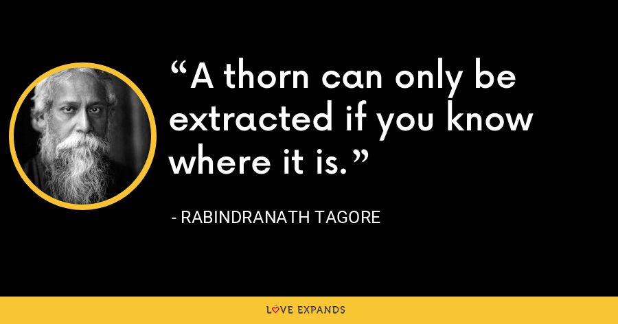 A thorn can only be extracted if you know where it is. - Rabindranath Tagore