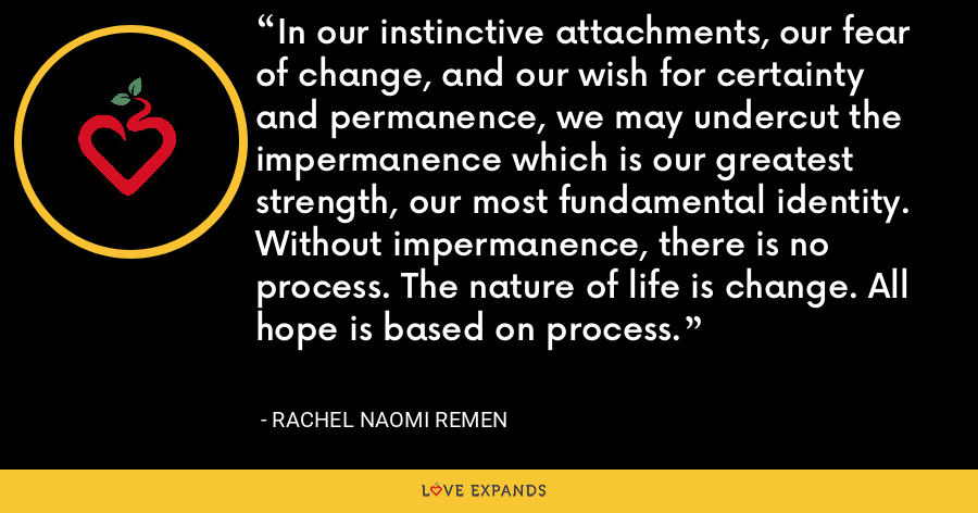 In our instinctive attachments, our fear of change, and our wish for certainty and permanence, we may undercut the impermanence which is our greatest strength, our most fundamental identity. Without impermanence, there is no process. The nature of life is change. All hope is based on process. - Rachel Naomi Remen