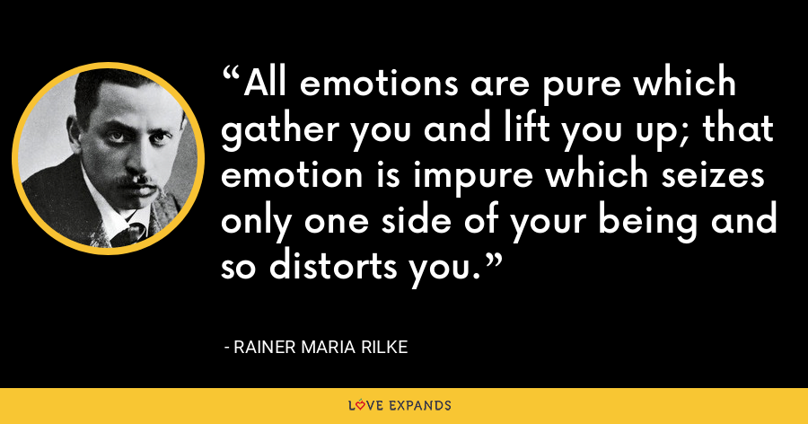 All emotions are pure which gather you and lift you up; that emotion is impure which seizes only one side of your being and so distorts you. - Rainer Maria Rilke
