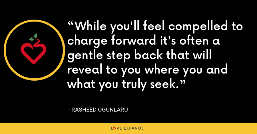 While you'll feel compelled to charge forward it's often a gentle step back that will reveal to you where you and what you truly seek. - Rasheed Ogunlaru