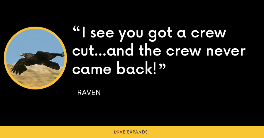I see you got a crew cut...and the crew never came back! - Raven