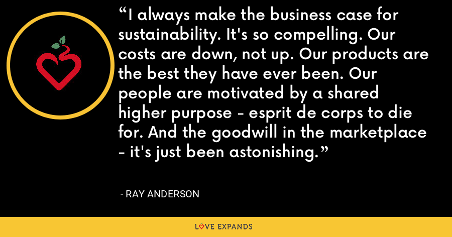 I always make the business case for sustainability. It's so compelling. Our costs are down, not up. Our products are the best they have ever been. Our people are motivated by a shared higher purpose - esprit de corps to die for. And the goodwill in the marketplace - it's just been astonishing. - Ray Anderson