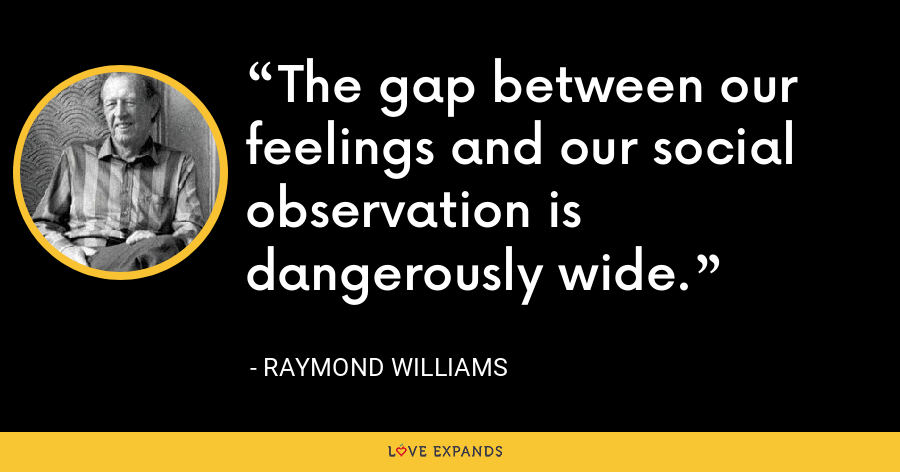 The gap between our feelings and our social observation is dangerously wide. - Raymond Williams
