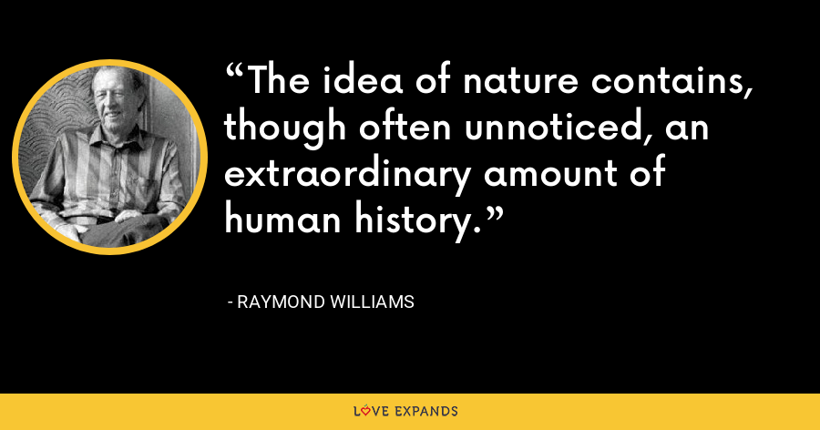 The idea of nature contains, though often unnoticed, an extraordinary amount of human history. - Raymond Williams