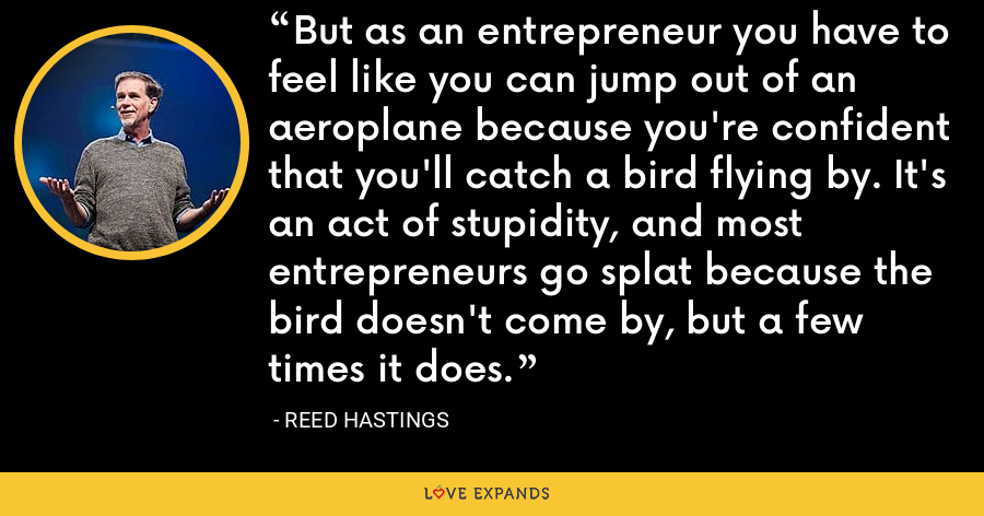 But as an entrepreneur you have to feel like you can jump out of an aeroplane because you're confident that you'll catch a bird flying by. It's an act of stupidity, and most entrepreneurs go splat because the bird doesn't come by, but a few times it does. - Reed Hastings
