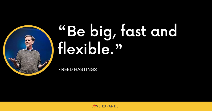 Be big, fast and flexible. - Reed Hastings