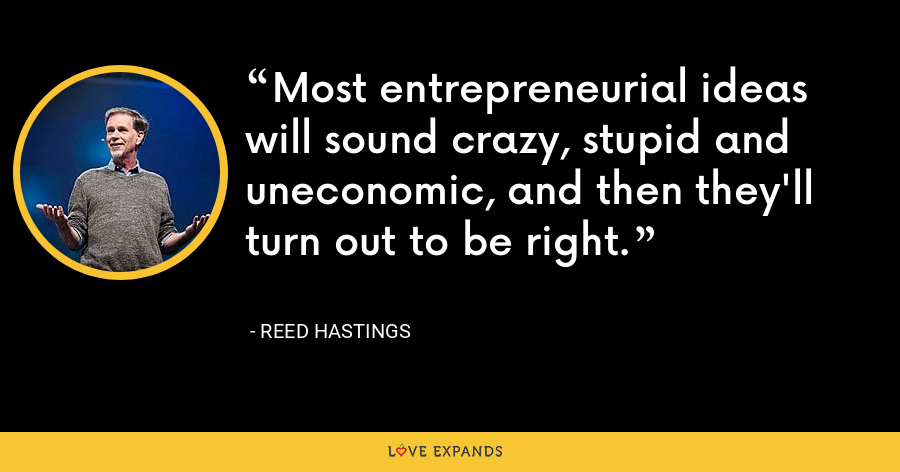 Most entrepreneurial ideas will sound crazy, stupid and uneconomic, and then they'll turn out to be right. - Reed Hastings