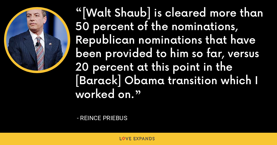 [Walt Shaub] is cleared more than 50 percent of the nominations, Republican nominations that have been provided to him so far, versus 20 percent at this point in the [Barack] Obama transition which I worked on. - Reince Priebus