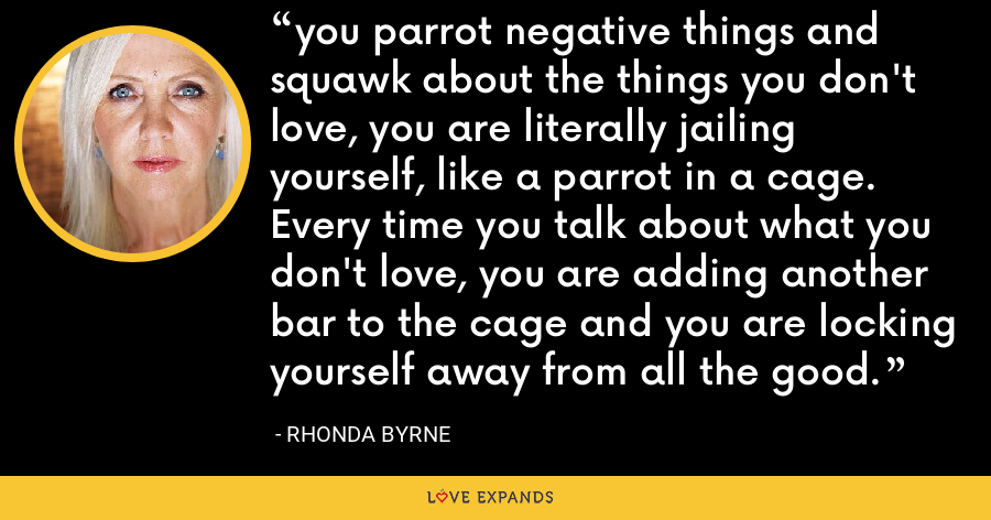 you parrot negative things and squawk about the things you don't love, you are literally jailing yourself, like a parrot in a cage. Every time you talk about what you don't love, you are adding another bar to the cage and you are locking yourself away from all the good. - Rhonda Byrne