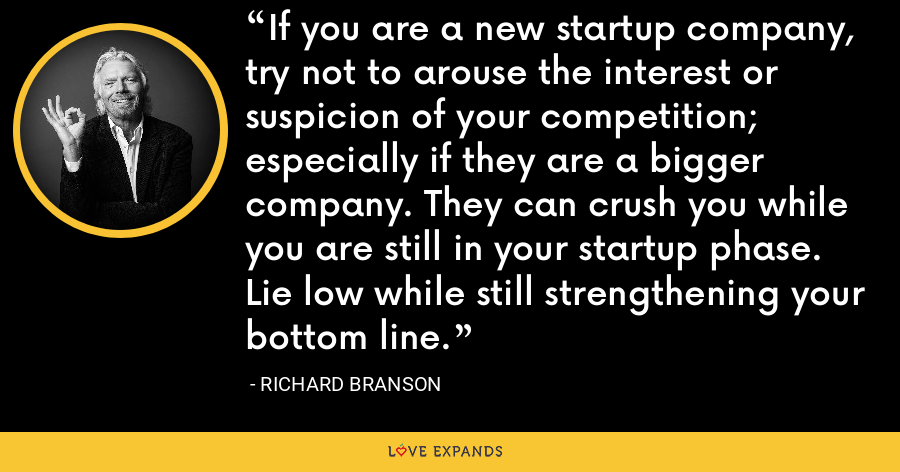 If you are a new startup company, try not to arouse the interest or suspicion of your competition; especially if they are a bigger company. They can crush you while you are still in your startup phase. Lie low while still strengthening your bottom line. - Richard Branson