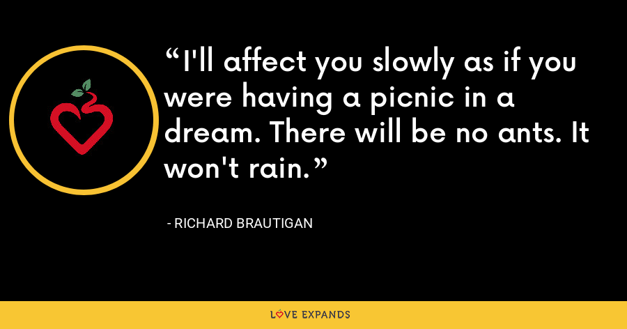 I'll affect you slowly as if you were having a picnic in a dream. There will be no ants. It won't rain. - richard brautigan