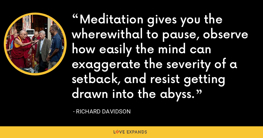 Meditation gives you the wherewithal to pause, observe how easily the mind can exaggerate the severity of a setback, and resist getting drawn into the abyss. - Richard Davidson