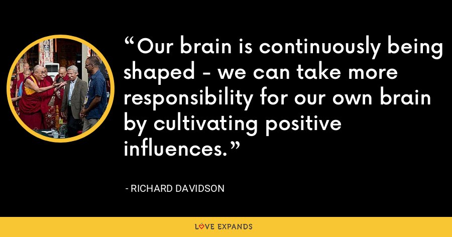 Our brain is continuously being shaped - we can take more responsibility for our own brain by cultivating positive influences. - Richard Davidson