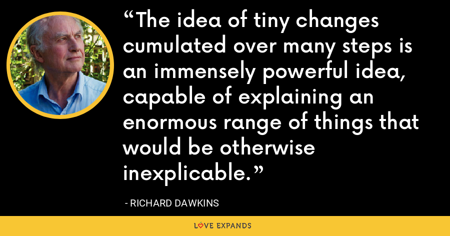 The idea of tiny changes cumulated over many steps is an immensely powerful idea, capable of explaining an enormous range of things that would be otherwise inexplicable. - Richard Dawkins