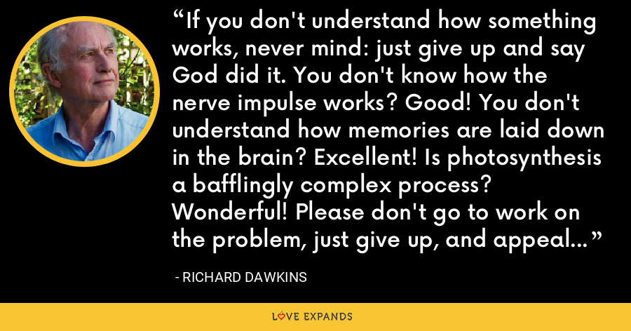If you don't understand how something works, never mind: just give up and say God did it. You don't know how the nerve impulse works? Good! You don't understand how memories are laid down in the brain? Excellent! Is photosynthesis a bafflingly complex process? Wonderful! Please don't go to work on the problem, just give up, and appeal to God. - Richard Dawkins