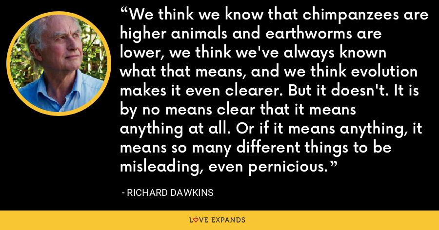 We think we know that chimpanzees are higher animals and earthworms are lower, we think we've always known what that means, and we think evolution makes it even clearer. But it doesn't. It is by no means clear that it means anything at all. Or if it means anything, it means so many different things to be misleading, even pernicious. - Richard Dawkins