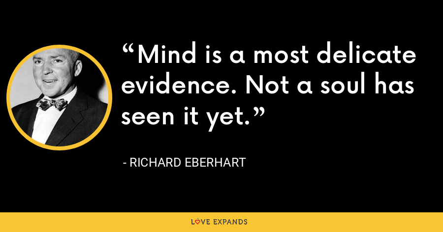 Mind is a most delicate evidence. Not a soul has seen it yet. - Richard Eberhart