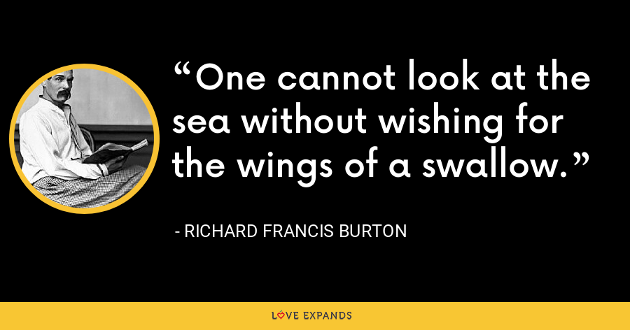 One cannot look at the sea without wishing for the wings of a swallow. - Richard Francis Burton