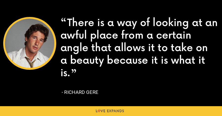 There is a way of looking at an awful place from a certain angle that allows it to take on a beauty because it is what it is. - Richard Gere