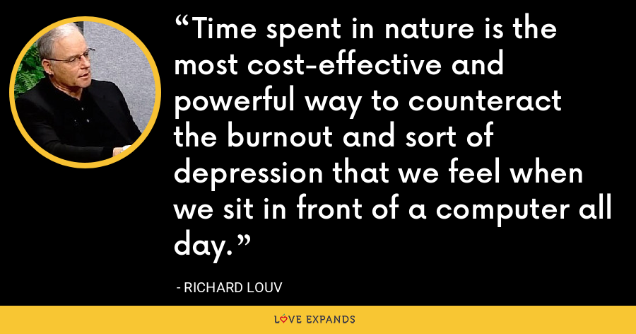 Time spent in nature is the most cost-effective and powerful way to counteract the burnout and sort of depression that we feel when we sit in front of a computer all day. - Richard Louv