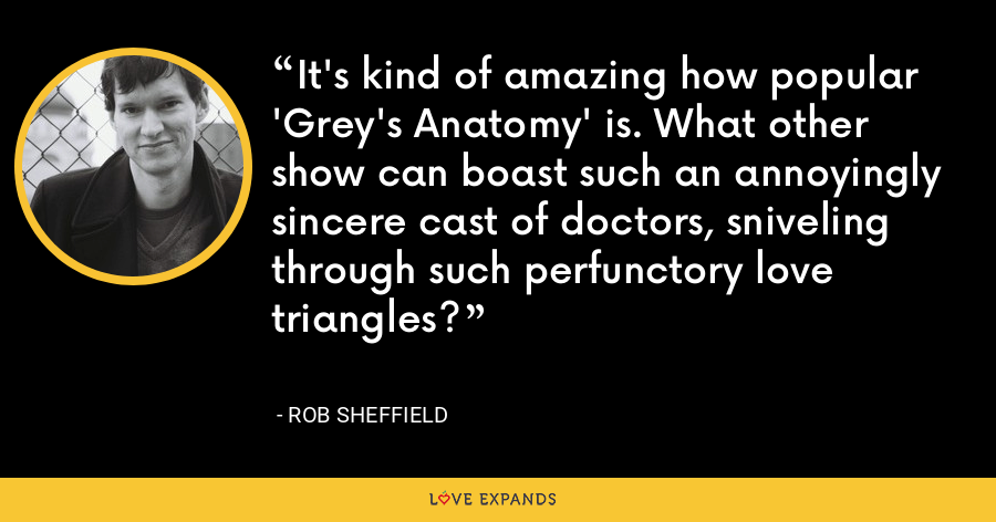 It's kind of amazing how popular 'Grey's Anatomy' is. What other show can boast such an annoyingly sincere cast of doctors, sniveling through such perfunctory love triangles? - Rob Sheffield