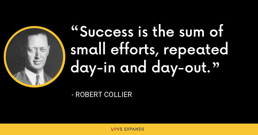 Success is the sum of small efforts, repeated day-in and day-out. - Robert Collier