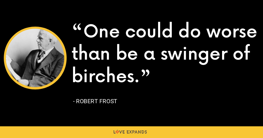 One could do worse than be a swinger of birches. - Robert Frost