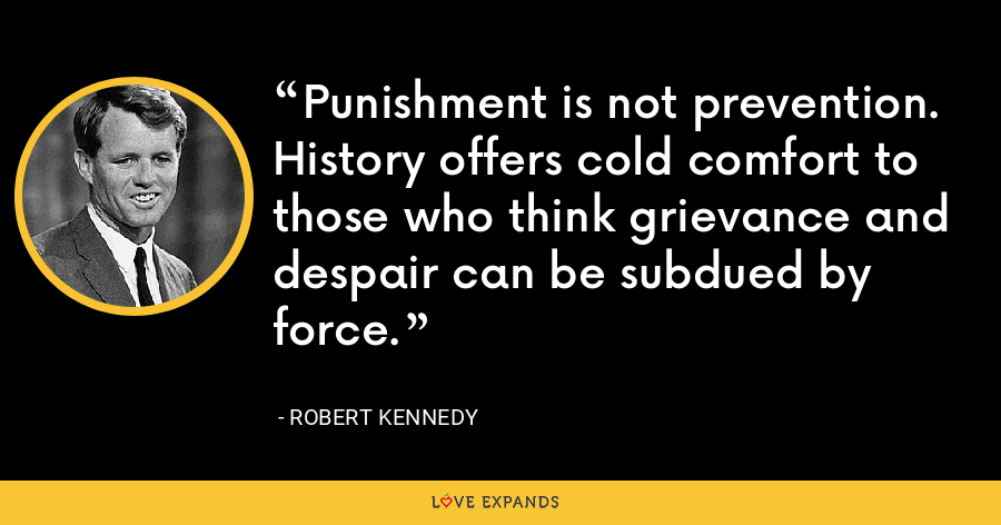 Punishment is not prevention. History offers cold comfort to those who think grievance and despair can be subdued by force. - Robert Kennedy