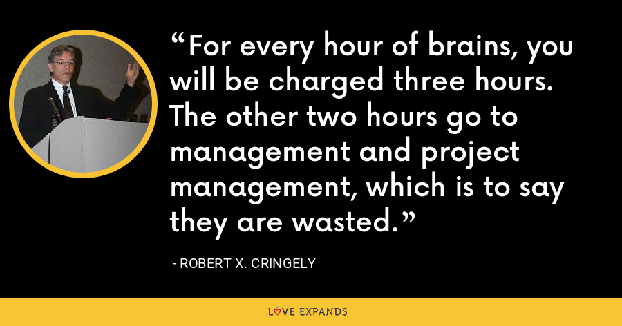 For every hour of brains, you will be charged three hours. The other two hours go to management and project management, which is to say they are wasted. - Robert X. Cringely