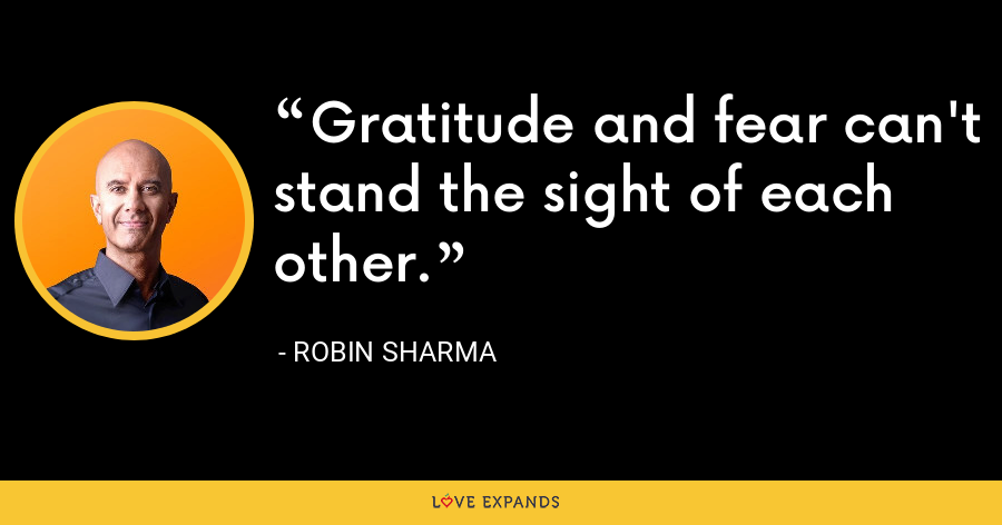 Gratitude and fear can't stand the sight of each other. - Robin Sharma