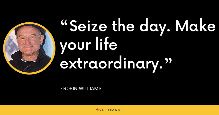 Seize the day. Make your life extraordinary. - Robin Williams