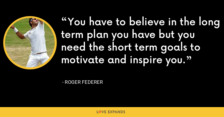 You have to believe in the long term plan you have but you need the short term goals to motivate and inspire you. - Roger Federer