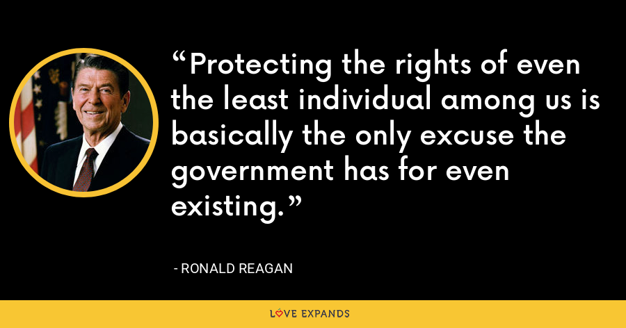Protecting the rights of even the least individual among us is basically the only excuse the government has for even existing. - Ronald Reagan