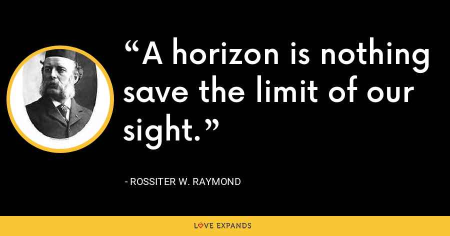 A horizon is nothing save the limit of our sight. - Rossiter W. Raymond