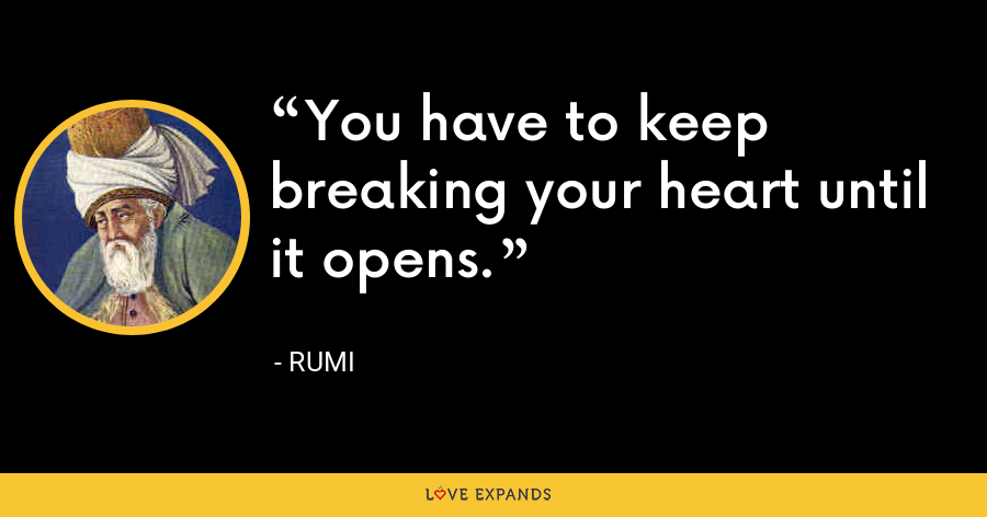 You have to keep breaking your heart until it opens. - Rumi