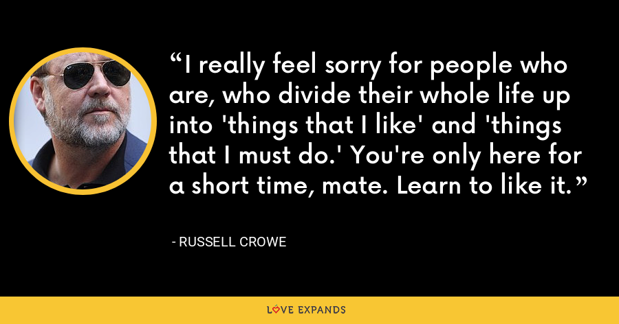 I really feel sorry for people who are, who divide their whole life up into 'things that I like' and 'things that I must do.' You're only here for a short time, mate. Learn to like it. - Russell Crowe
