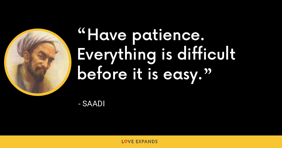 Have patience. Everything is difficult before it is easy. - Saadi