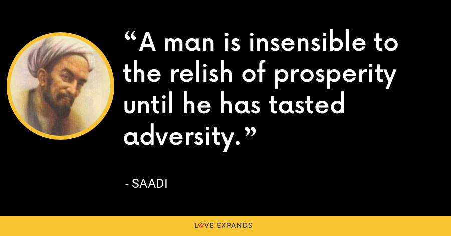 A man is insensible to the relish of prosperity until he has tasted adversity. - Saadi