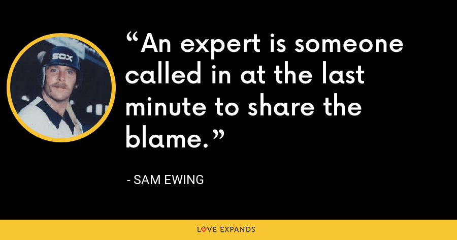An expert is someone called in at the last minute to share the blame. - Sam Ewing