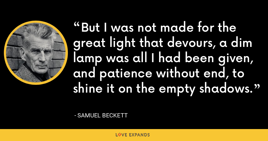 But I was not made for the great light that devours, a dim lamp was all I had been given, and patience without end, to shine it on the empty shadows. - Samuel Beckett