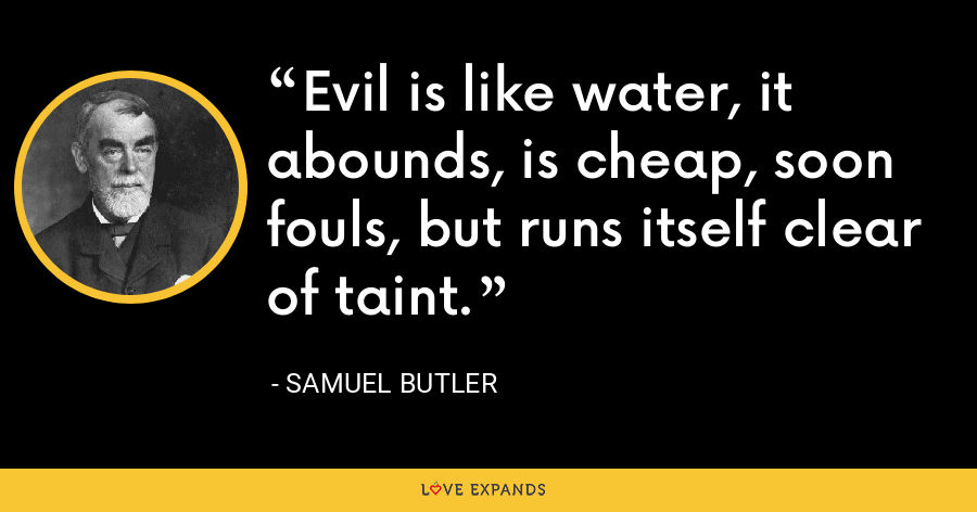Evil is like water, it abounds, is cheap, soon fouls, but runs itself clear of taint. - Samuel Butler